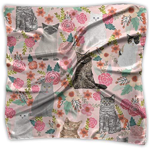 Flores de jardín para gatos dulces gatos gato señora dulce gris gato unisex multifuncional pañuelo de seda bolsillo cuadrado pañuelo para diadema, envoltura, cobertura protectora de 24 x 24 pulgadas
