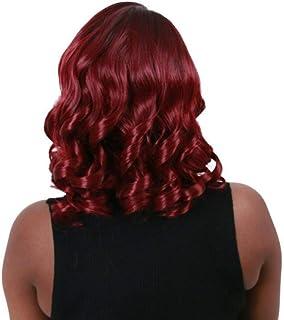 Koloeplf かつら女性のための傾斜前髪ショートカーリーヘアーワインレッド高温シルクウィッグ