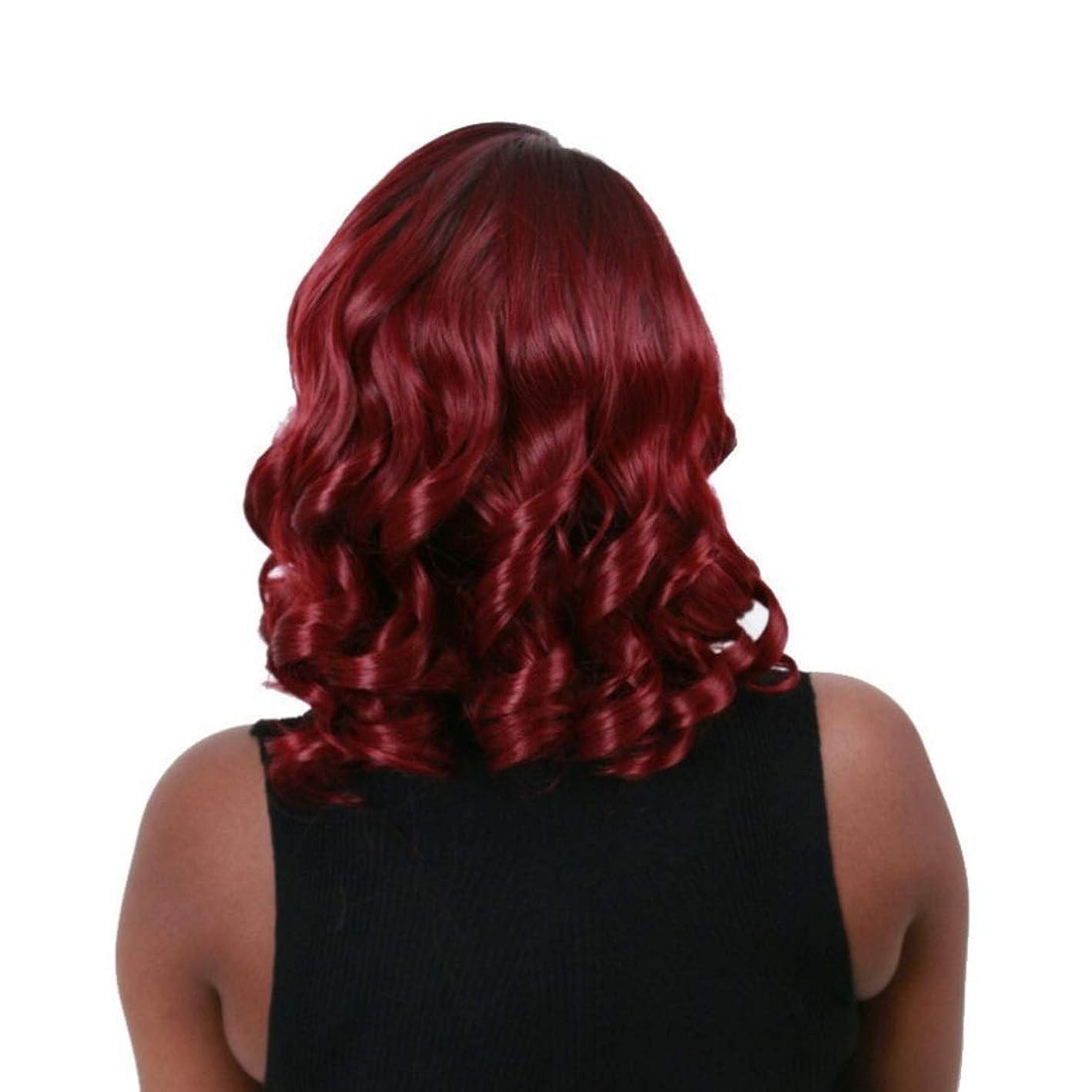 奇跡ピッチャー抵抗力があるKoloeplf かつら女性のための傾斜前髪ショートカーリーヘアーワインレッド高温シルクウィッグ