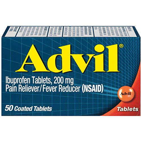 Advil Pain Reliever and Fever Reducer, Pain Relief Medicine with Ibuprofen 200mg for Headache, Backache, Menstrual Pain and Joint Pain Relief - 50 Coated Tablets