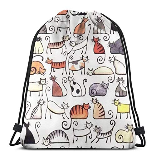 EU Cartoon Cute Short Pussy Cat Kordelzug Rucksack Gym Sack Cinch Bag String Bag Eltern
