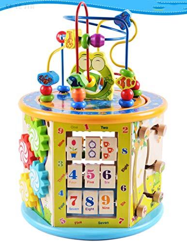 Juguete de Madera para Laberinto de Cuentas de Cubo de Actividad de Lujo, clasificador de Formas, Formas, Letras y números, Actividad de Desarrollo temprano Juguetes para niños pequeños