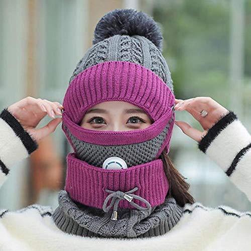 UKKD Wintermütze Winter-Hut Und Schal & Mask Set Für Frauen Mädchen Warm Beanies...