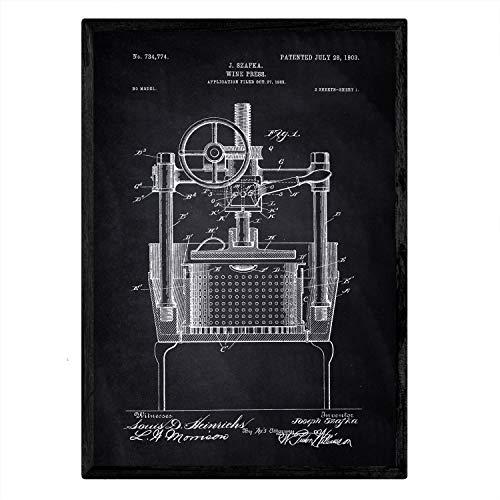 Nacnic patent krimpen poster met wijn. Blad met oud ontwerp patent A3-formaat met zwarte achtergrond