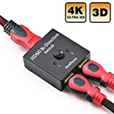 DotStone Conmutador HDMI 2 Puertos Bidireccional Conmutador Manual 2 x 1/1 x 2 HDMI Hub-HDCP Passthrough-Soporta Ultra HD 4K 3D 1080P