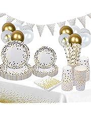 Engångstallrikar partytallrikar, 140 st. engångsporslin med ballonger, papperstallrikar, servetter, halm, 25 gäster (vit och guld)