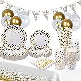 Platos desechables para fiestas, 140 unidades, vajilla desechable con globos, platos de papel, servilletas, paja, para 25 invitados (blanco y dorado)