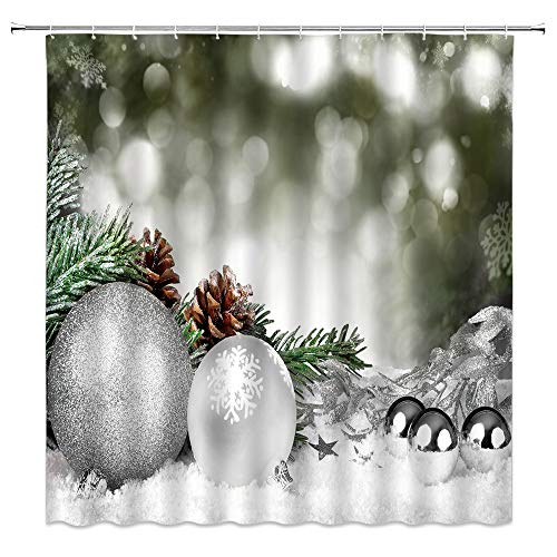 BOYIAN Xmas Ball Shower Curtain Pine Cones Branches Snowflake Snow Christmas Country Winter Holidays Grey Fabric Bath Curtains Bathroom Accessories Polyester with Plastic Hooks 70x70 Inch