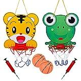 2Pcs Children's Tiger & Frog Hanging Basketball Hoop and Backboard Set, Cartoon Kids Basketball Stand and Hoop Adjustable Indoor Sports Basketball Stand Toy for Boys Girls