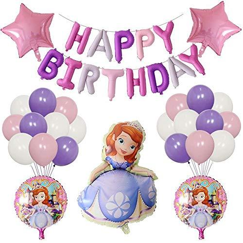 ソフィア 誕生日 飾り付け 姫君 姫様 子供 女の子 パープル 可愛い 綺麗 ちいさなプリンセスソフィア happy birthday ガーランド バルーン 風船 スターバルーン 26枚セット