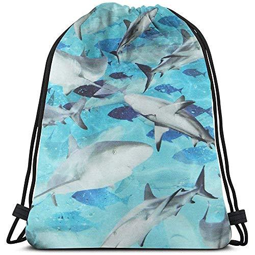 AllenPrint Sporttasche Rucksack,Sharks Lightweight Drawstring Cinch Bags Für Erwachsene Klettern Reisen 36x43cm