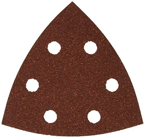 Dewalt Dreieck-Schleifpapier (Klettfix 93 x 93 mm, K80, gelocht (6 Loch ringförmig), Mehrzweck-Holz/Farbe - Trockenschliff) DT3092-QZ