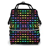 Space Invaders Black Diaper Bags Fashion Mummy Backpack Multi Functions Large Capacity Nappy Bag Nursing Bag For Baby Care For Traveling