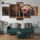 YIMENGSX Moderno Arte de la Pared Fotos Decoración para el hogar Carteles 5 Paneles Vinoteca Gabinetes y Platos delicados Living Room HD Cuadro con Pintura Impresa, con Marco, 30x40 30x60 30x80cm