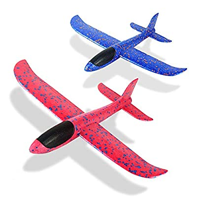 """2 Pack Foam Airplane Toys, 12.4"""" Throwing Foam Plane, 3 Flight Mode Glider Plane, Flying Toy for Kids, Gifts for 3 4 5 6 7 Year Old Boy&Girl, Outdoor Sport Toys Birthday Party Favors Foam Airplane"""