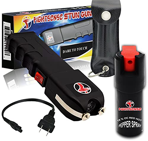 Mega Force Stun Gun with Pepper Spray– Extremely Powerful Rechargeable Stun Gun for Self Defense and Protection – Built-In LED Flashlight and Carrying Case – Intimidating and Comfortable Design