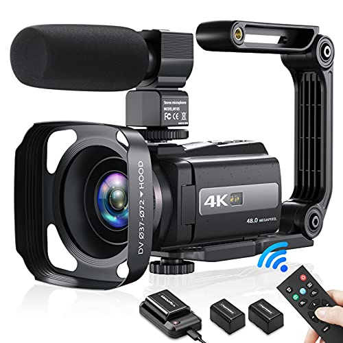 4K Video Camera Camcorder, YouTube Camera 48MP 60FPS Wi-Fi Digital Camera Recorder Night Shot 16X Digital Zoom IPS Touch Screen Vlogging Camera with Microphone, 2.4G Remote, Upgraded Battery Charger
