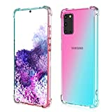 ROSAUI for Samsung Galaxy S20 Ultra Case Soft TPU Bumper Slim fit Shockproof Anti Scratch Drop Protection Flexible Gradient Transparent Cute Case for Galaxy S20 Ultra/S20 Ultra 5G (Teal-Pink)