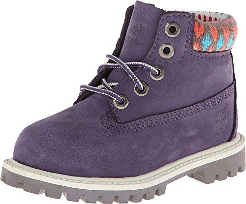 Timberland Kids Purple with Multi Sweater 6in Premium Waterproof Junior 6.5 B(M) US Big Kid