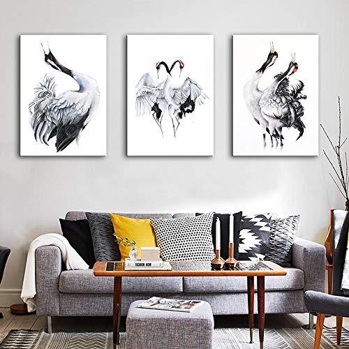 FYBSNDY Gedruckte Bilder Home Wall Artative Modulares Poster 3 Panel Hd Schwarzweiß-Kranich Gemälde Auf Leinwand Wohnzimmer Dekorative 35 cm X 50 cm X 3 Kein Rahmen