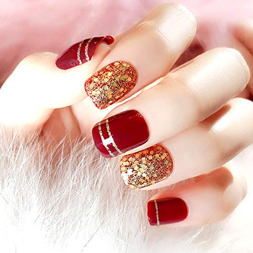 Drecode False Nails Bling Paillette Stripe Full Cover Acrylic Red Fake Nails Elegant Wedding Birthday Christmas Party Clip on Nails for Women and Girls