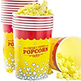 Leakproof, Super Durable 32oz Popcorn Buckets 25 Pack. Grease-Proof Disposable Pop Corn Tubs With Cool Design Are the Ultimate Movie Theater Accessory. Large Containers Great for Any Party or Event