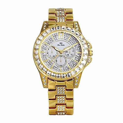 YIBOKANG Reloj De Cuarzo De Lujo De Lujo De La Luz De La Moda De Las Mujeres Reloj De Cuarzo Impermeable Casual Creativo Casual Tres Ojos Alear Cinturón Hermoso Regalo Reloj De Moda