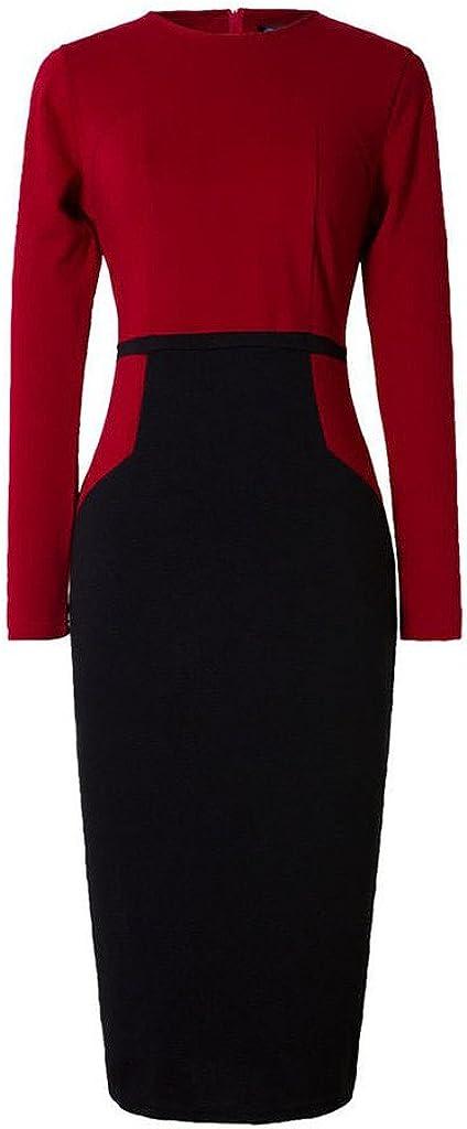 Emily Charm Women's Long Sleeve Classic Slim Fit Zipper Retro Pencil Midi Dress