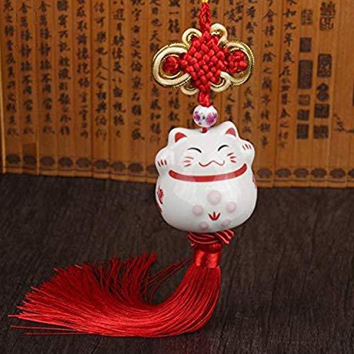 Maneki Neko Feng Shui - Colgante de Gato de la Suerte japonés, Figura de Porcelana y abalorio de la Suerte (Rojo)