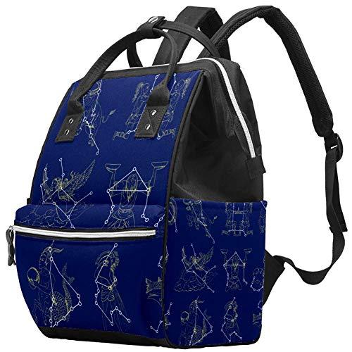 Sac à langer multifonction pour bébé - Collection avec symboles du zodiaque et motif constellations - Sac à dos de voyage pour maman et papa