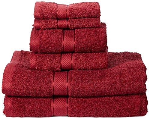 Amazon Basics - Set di 2 asciugamani da bagno,2 asciugamani per le mani e 2 asciguamani da bidet che non sbiadiscono, colore Rosso