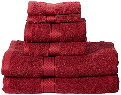 AmazonBasics - Juego de toallas (colores resistentes, 2 toallas de baño, 2 de manos y 2 para bidé), color rojo