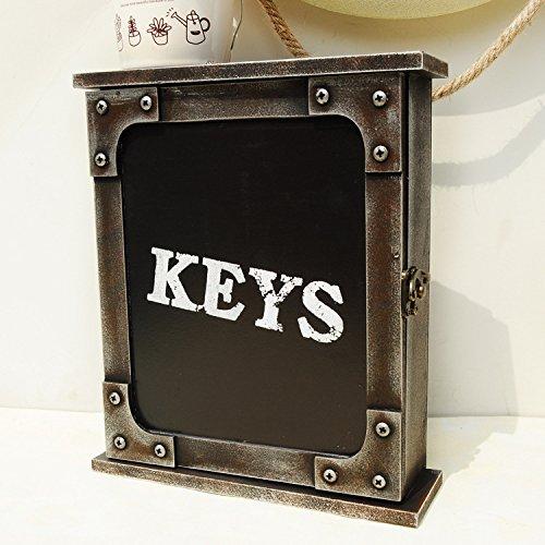 Caja de llaves vintage y retro para colgar en la pared con 6 ganchos,...