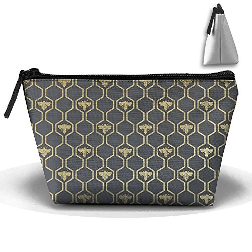Trapezoidal Cosmetic Bags Makeup Toiletry Pouch Bumblebee Honeycomb Travel Storage Bag Phone Purse