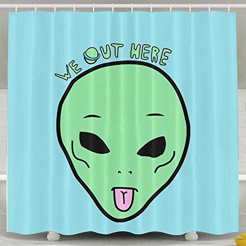 BESTSC Badvorhang, Cartoon-Motiv Alien UFO We Out Here Grimace Sky Blue Duschvorhänge – Wasserdichter Polyesterstoff Badezimmer-Deko-Set mit Haken – 152,4 x 182,9 cm, weiß, 60 * 72inch