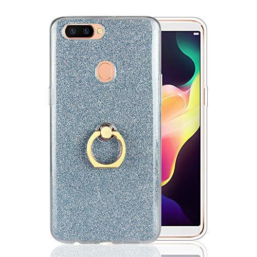 GARITANE Hülle für Asus Zenfone Go TV/ZB551KL,Bling Glitzer Handyhülle Clear Silikon Bumper Tasche Hülle Cover mit Ring Ständer Fingerhalterung (Blau)