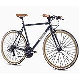 "CHRISSON 28"" Zoll URBAN RENNRAD Fahrrad Vintage Road 3.0 mit 21G Shimano A070 Retro Look 56cm schwarz matt"