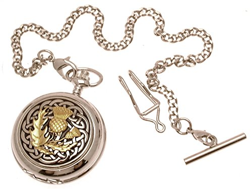 Pocket Watch - Solid Pewter Fronted Quartz Pocket Watch - Two Tone Celtic Knot with Thistle Design 60