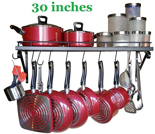 "30"" Wall mounted pots and pans rack. Pot holders wall shelves with 10 hooks. Kitchen shelves wall mounted with wall hooks. Kitchen storage pot holder pot rack. Pot pan organizer. Pot Pan rack."