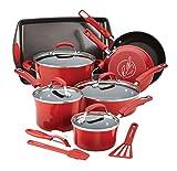 Rachael Ray Hard Enamel Nonstick Cookware Set, 14-pc - Red