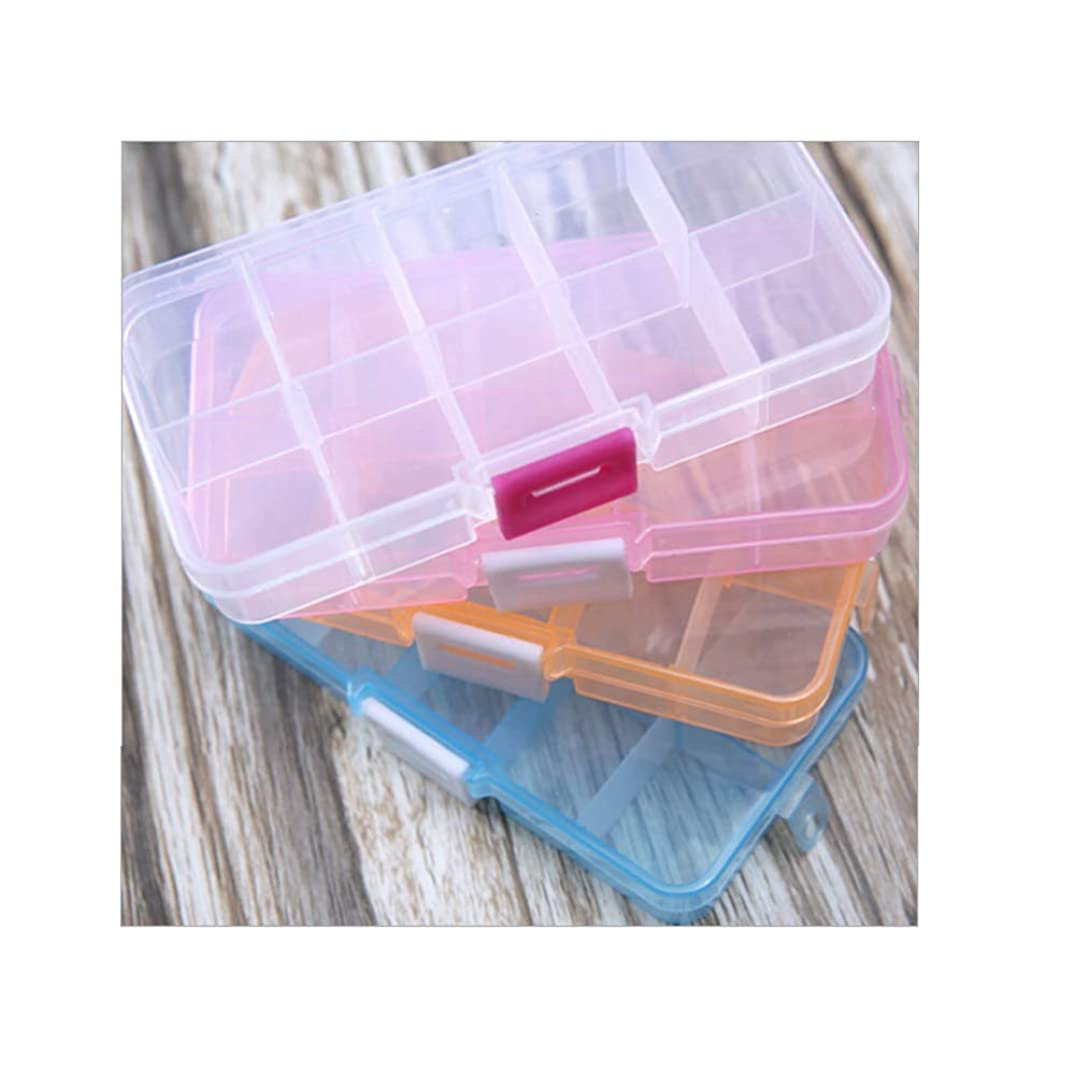 Auch Adjustable Clear Plastic 10-Grid Jewelry Organizer Divider Storage Box (Pack of 4)