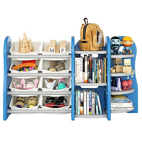 Homfa Kinderregal Spielzeugregal Bücherregal Aufbewahrungsregal Toy Organizer für Spielzeug Regal aus PE-Kunststoff, Multi-funktional 152 × 36 × 91 cm