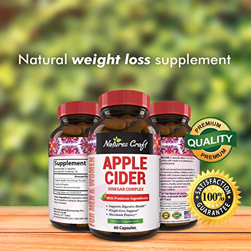Natures Craft Apple Cider Vinegar Pills – For Weight Loss ACV Capsules Extra Strength Fat Burner Natural Supplement Pure Detox Cleanse Appetite Suppressant Immune Booster – for Women and Men 60 caps 5