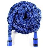 Hongmai 50FT Blau erweiterbarer Schlauch ohne geknickt, Roll-Garten Wasser Schlauch mit doppelter Schnelle Anschluss und Düse ohne Ventil, Super leicht für den Garten & Bewässerung