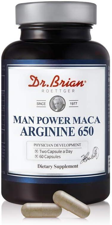 In stock outlet Dr.Brian ROETTGER Man Power Maca 650 60 Capsules Arginie L-Argi