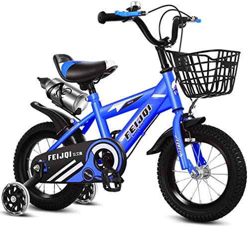 HCMNME Durable Bicycle 2020 New Mountain Bike for Kids, Boys Girls Sporty Bicycle with Training Wheels and Basket, High-Carbon Steel 12 14 16 18 Inch Child Bike for 2-12 Years Old,Blue,16inch Al