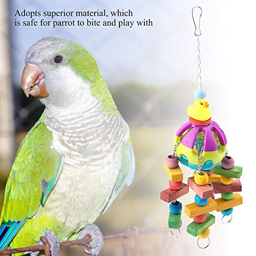 Vögel Kauspielzeug, hängendes Alter Zubehör Kauspielzeug Kleine Glocke Gelbe Ente Vogel Holzspielzeug für Papageien Sittich Wellensittich