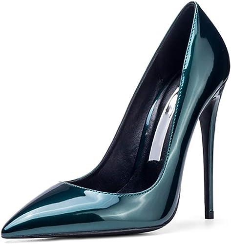 CHEXIAO Chaussures à Talons Hauts Sexy en Cuir Verni Verni Verni Noir (Couleur   Vert, Taille   37)  vous rendre satisfait