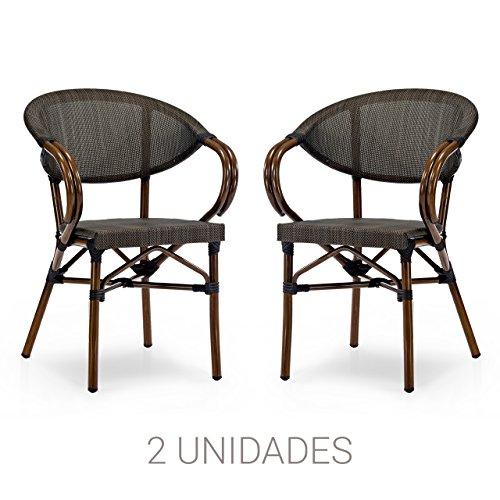 Natural Vintage Garage Roden Sillón, Aluminio y Textilene, Marron Negro, 57.00x57.00x83.00 cm, 2 Unidades