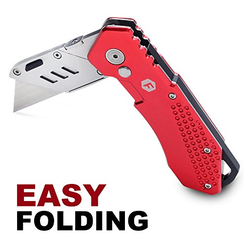 FC Folding Pocket Utility Knife - Heavy Duty Box Cutter with Holster, Quick Change Blades, Lock-Back Design, and Lightweight Aluminum Body Photo #3